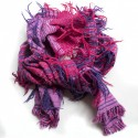 Purple and pink scarf with fringes.