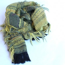 Black alpaca scarf and olive-colored merina wool.
