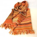 Honeycomb or embossed merin wool scarf, brown, pumpkin, golden yellow and white.